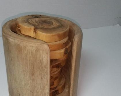 מארז תחתיות לקפה מעץ זית