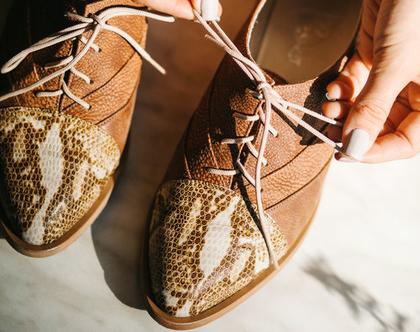 נעלי אוקספורד לנשים - torino orange reptile