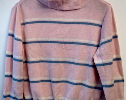 סוודר ורוד לאישה 50% הנחה חיסול המלאי | סוודר ורוד בייבי פסים לבן ותכלת מידה S M