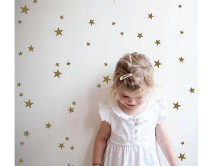 מדבקות קיר כוכבים בצבע זהב