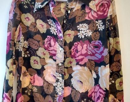 חולצת סבנטיז לגבר הדפס פרחים גדולים מידה S M