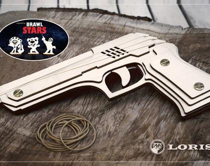 אקדח גומיות מעץ עם מטרות Brawl Stars- עיצוב מקורי, מיוצר בישראל!