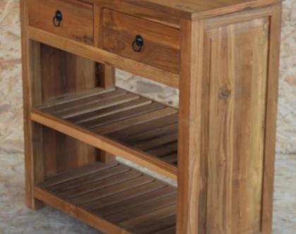 """קונסולה 80 ס""""מ מעץ טיק --גלרי"""