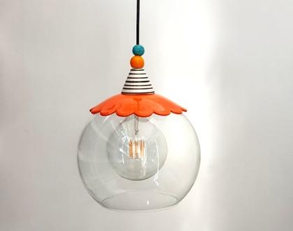 מנורת זכוכית גדולה - תאורה לפינת אוכל - מנורות צבעוניות - גופי תאורה צבעוניים - גופי תאורה מזכוכית