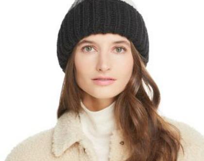 Aqua | כובע פונפון שחור/לבן/אפור ניטים אקווה