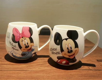 """ספל ספלים דיסני מיקי מאוס מיני מאוס כוס כוסות קרמיקה פורצלן מעוצבות קפה תה 320 מ""""ל מתנה מקורית"""