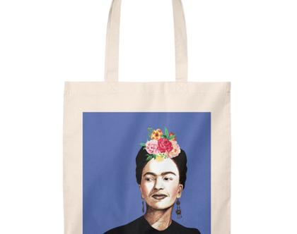 תיק צד כותנה עם הדפס ציור של פרידה קאלו, מגוון צבעים לבחירתך