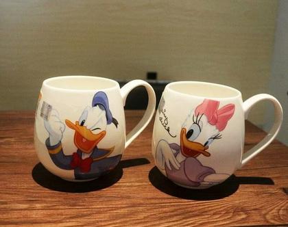 """ספל ספלים דיסני דונלד דאק דייזי כוס כוסות קרמיקה פורצלן מעוצבות קפה תה 320 מ""""ל מתנה מקורית"""