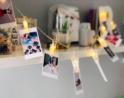 שרשרת אורות עם תמונות אישיות