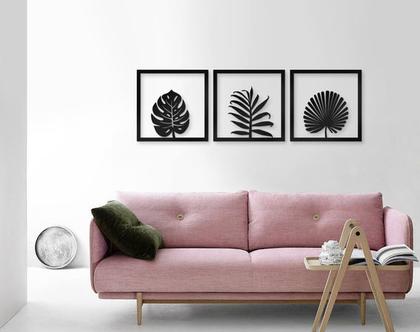 שלישיית תמונות עלים 30X30 | סט תמונות עלים | לעיצוב הבית | תמונות לסלון | תמונות לפינת אוכל | עלים טרופיים