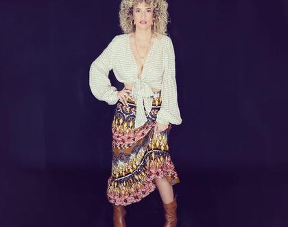 סט נשמה צוענייה טווין סט חולצת קשירה וחצאית בסגנון בוהו