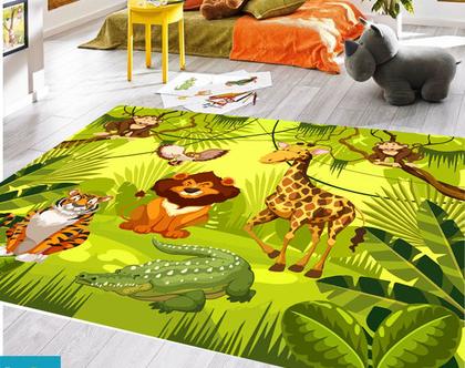 שטיח ויניל דגם חיות | שטיח pvc רך | שטיח לחדרי ילדים ענק 1.2X1 מטר