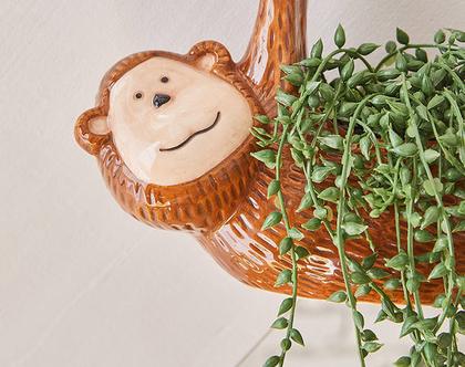 עציץ תלוי קרמי קטן דמוי קוף