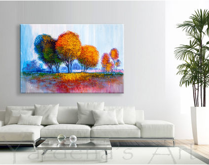 תמונה של עצים צבעוניים - Colorful trees| תמונות מעוצבת לסלון | תמונות מעוצבות למשרד | תמונות של עצים צבעוניים