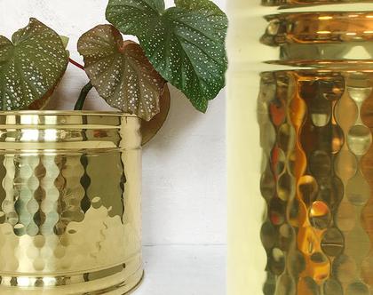 עציץ פליז וינטאג׳ גדול, נדיר ומעוצב, עציץ זהב
