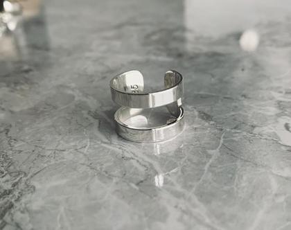 טבעת פסים  טבעת כפולה  טבעת מינימליסטית  טבעת ארט דקו  טבעת כסף 925  טבעת כסף סטרלינג  טבעת פתוחה מאחור