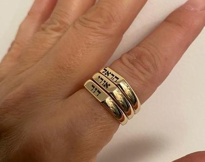 טבעת לאמא עם חריטה שם - טבעות שם - טבעת חריטה שחורה