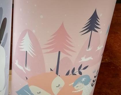 אהיל מאוייר שועל וילדה   אהילים לחדרי ילדים   מנורות לחדרי ילדים   אהיל מעוצב