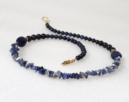 שרשרת לאפיס - שרשרת אבני חן כחולות - שרשרת כחולה - מחרוזת אבני חן כחולות
