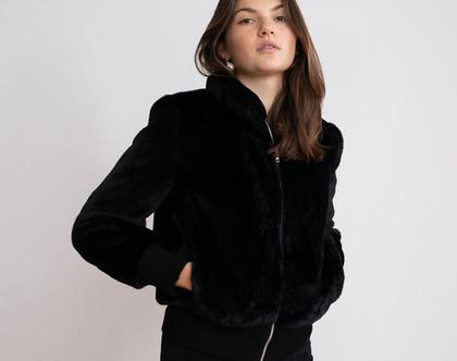 מעיל בומבר פרווה -שחור