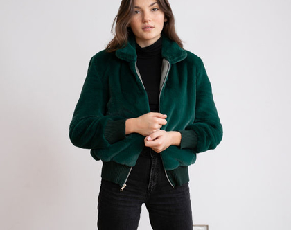 מעיל בומבר פרווה -ירוק