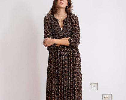שמלת מידי בוהימית- פרינט פייזלי.