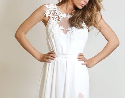 שמלת כלה בסגנון בוהמייני חצאית שיפון עם שסע
