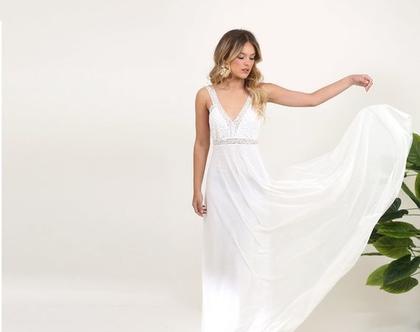 שמלת כלה בהומיינית , טופ צמוד עם פסי תחרה