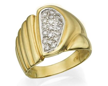 טבעת יהלומים 0.33 קראט זהב צהוב 18 קראט