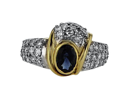 טבעת ספיר 0.30 קראט, זהב-צהוב 14 קראט, משובצת יהלומים