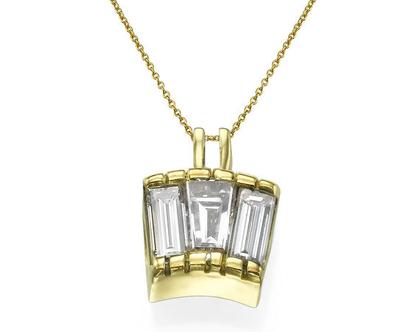 תליון יהלומים 0.83 קראט, זהב-צהוב 18 קראט