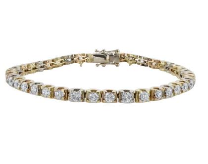 צמיד טניס משובץ יהלומים 5.3 קראט, זהב-צהוב 14 קראט