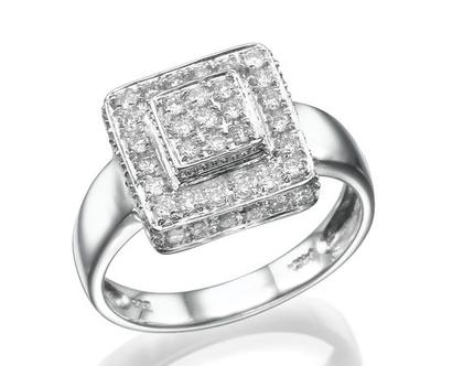 טבעת יהלומים, זהב לבן 14 קראט, יהלומים 0.53 קראט