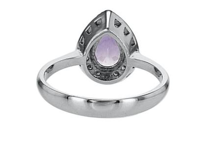 טבעת אמטיסט, זהב-לבן, 14K, משובצת יהלומים 0.21 קראט