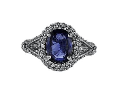 טבעת ספיר 2.38 קראט, זהב-לבן 14 קראט, משובצת 1.25 קראט יהלומים