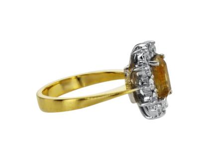 טבעת אבן סיטרין, 1.52 קראט, זהב-אדום 14 קראט, משובצת 0.54 קראט יהלומים