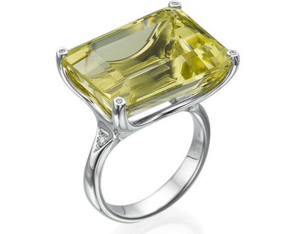 טבעת אבן לימון טופז 22.30 קראט, זהב-לבן 18 קראט, בשיבוץ יהלומים
