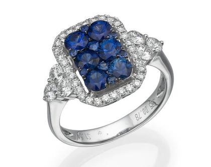 טבעת ספיר 1.54 קראט, זהב-לבן 14 קראט, משובצת 0.78 קראט יהלומים