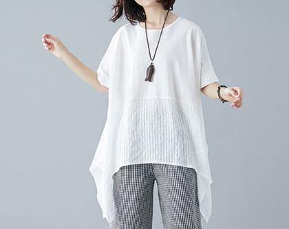 חולצת חצי חצי בלבן