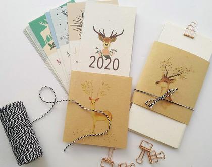 לוח שנה 2020 אישי דגם איילים | הלוח נמכר בתוספת מעטפת איילים ובתוספת וו מוזהב לתלייה | מודפס על נייר ממוחזר אנגורה 250 גר׳