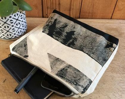 קלאץ' מודפס, תיק עבודת יד, הדפס אבסטרקט בגווני שחור
