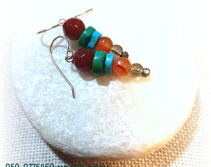 עגילים צבעוניים אבני חן טורקיז כתום ליום יום בסגנון טבעי אורגני
