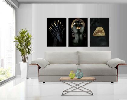 סט 3 תמונות קנבס African women set | תמונות מעוצבת לסלון | תמונות מעוצבות למשרד | סט תמונות של נשים אפריקאיות