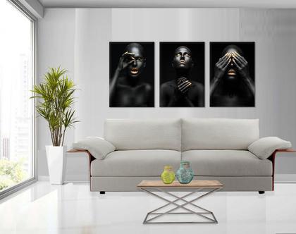 סט 3 תמונות קנבס African women | תמונות מעוצבת לסלון | תמונות מעוצבות למשרד | סט תמונות של נשים אפריקאיות