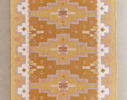 שטיח גיאומטרי בצבע חרדל, שטיח צהוב, שטיח כתום