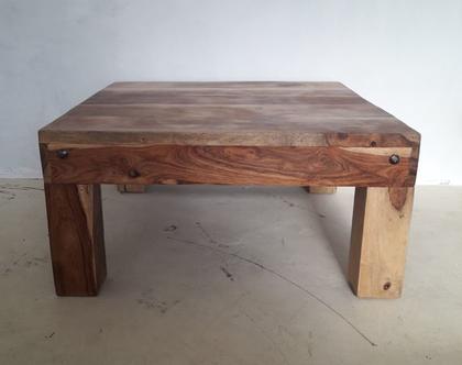 שולחן סלון מעץ מלא אגוז אפריקאי