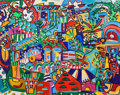 ציור צבעוני לבית, ציור גדול לבית של האמנית ענבר רייך,ציורים מקוריים, הדפס משודרג,אמנות ישראלית מקורית, שם העבודה משחק החיים גודל - 200/100