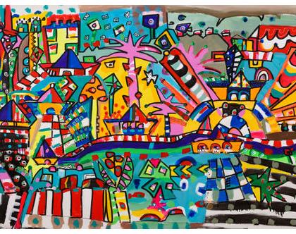 ציור צבעוני לבית, עיצוב פנים, תכשיטים לקירות של הציירת ענבר רייך,גלריה ציורים, אומנות ישראלית, ציור נאיבי , ציורים גדולים למכירה.