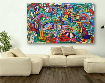 אמנות מודרנית לבית, תכשיטים לקירות של הציירת ענבר רייך, ציור לבית, ציור לקיר, אומנות ישראלית מקורית, הדפס משודרג על בד, ציור צבעוני לסלון