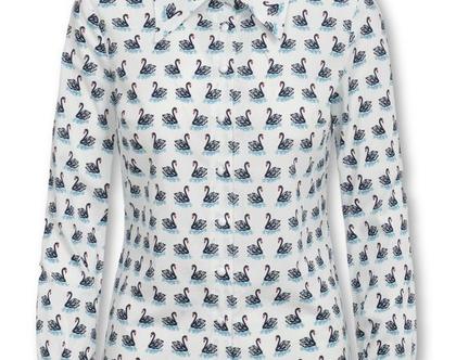 חולצה לבנה מכופתרת עם הדפס ברבורים ושרוולים ארוכים (אמנדה)